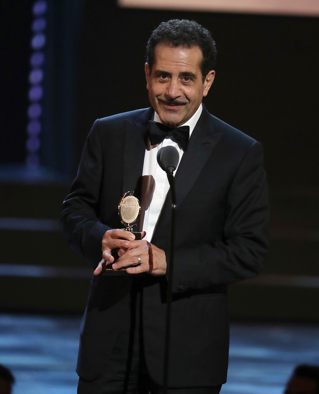 . Tony Shalhoub accepts the award for leading actor in a musical at the 72nd annual Tony Awards at Radio City Music Hall on Sunday, June 10, 2018, in New York. (Photo by Michael Zorn/Invision/AP)