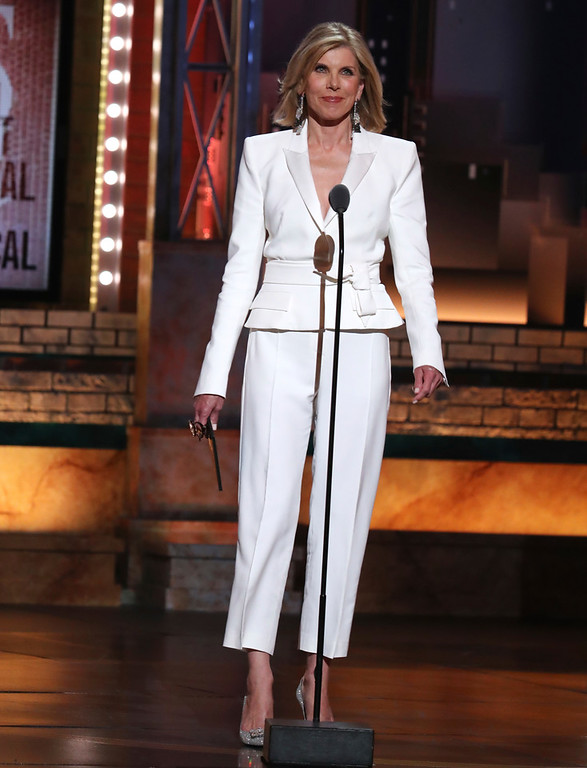 . Christine Baranski presents the award for best musical revival at the 72nd annual Tony Awards at Radio City Music Hall on Sunday, June 10, 2018, in New York. (Photo by Michael Zorn/Invision/AP)