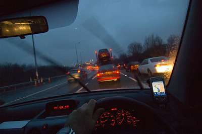 Driving on a motorway in bad weather condition to London, United Kingdon