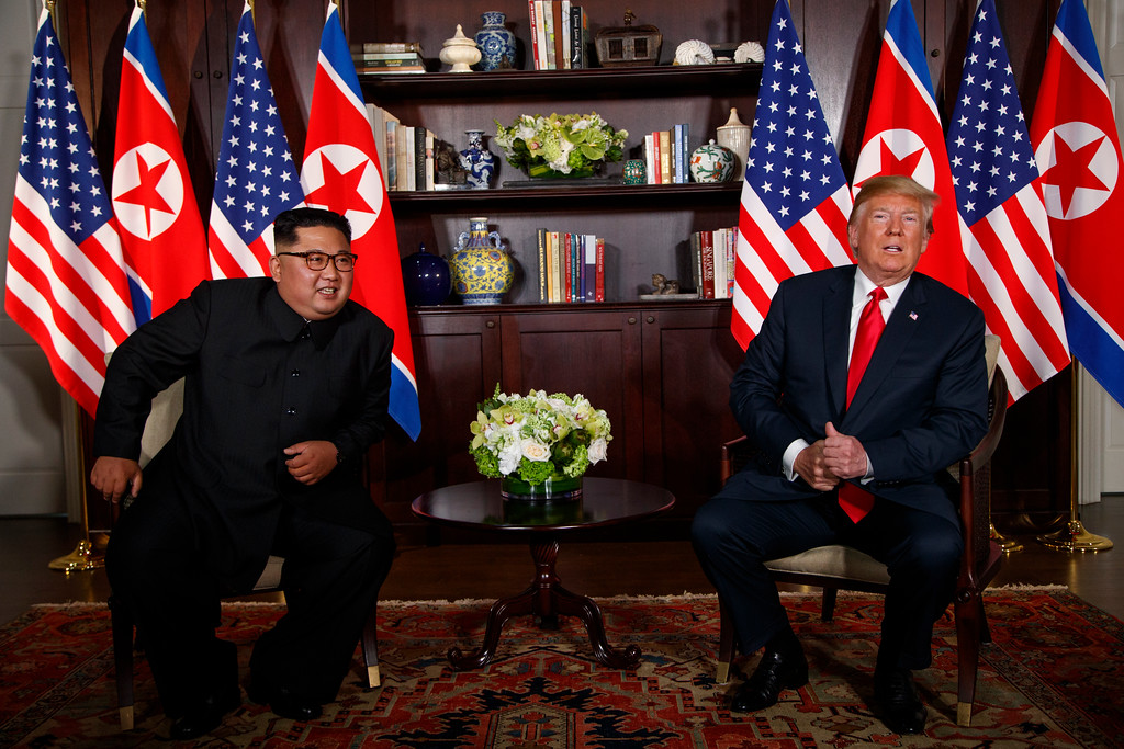 . President Donald Trump meets with North Korean leader Kim Jong Un on Sentosa Island, Tuesday, June 12, 2018, in Singapore. (AP Photo/Evan Vucci)