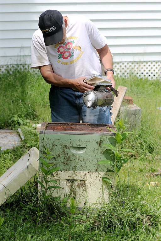 . Jonathan Tressler - The News-Herald. Hambden Township resident Dave Paterson, a veteran beekeeper, works the bellows on the smoker he uses to calm the hives as he prepares to look in on one in this June 7 photo.