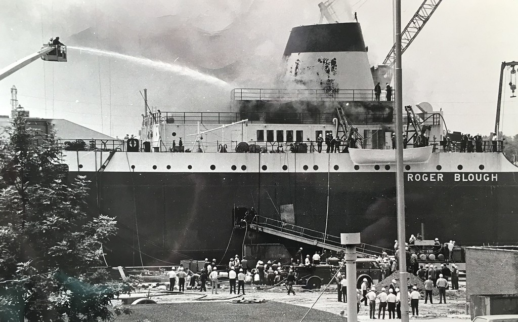 . The Morning Journal <br> This historic photo shows the firefighting efforts in Lorain on June 24, 1972, when the vessel Roger Blough caught fire during its construction.