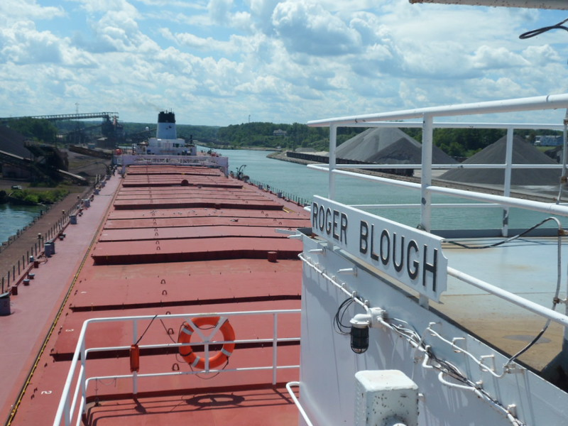 Submitted photo - Ed Bansek <br> The iron ore freighter Roger Blough, built in Lorain and known partly for the fire that killed four workers, departed the city on June 15, 1972, on its maiden voyage. This photo shows the view looking aft from the starboard side of the pilothouse as the Blough unloads in Conneaut.
