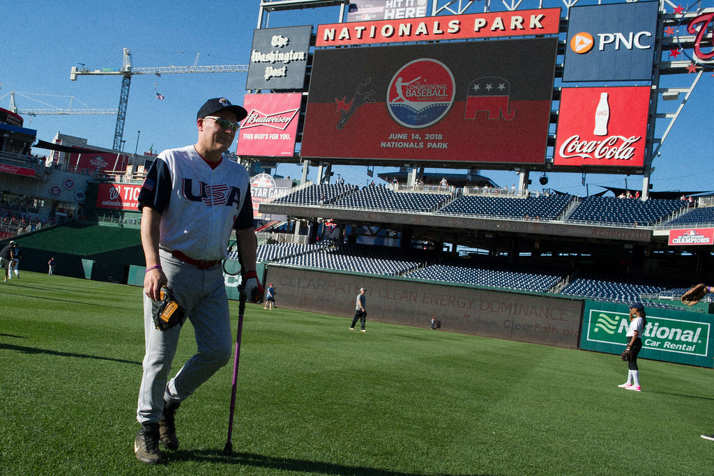 . Majority Whip Steve Scalise, of Louisiana, walks across the field after warming up for the 57th Congressional Baseball Game at National\'s Park in Washington, Thursday, June 14, 2018. On June 14, 2017, Scalilse was shot at the baseball field that he and some other members of Congress were practicing on in Alexandria, Va. (AP Photo/Cliff Owen)