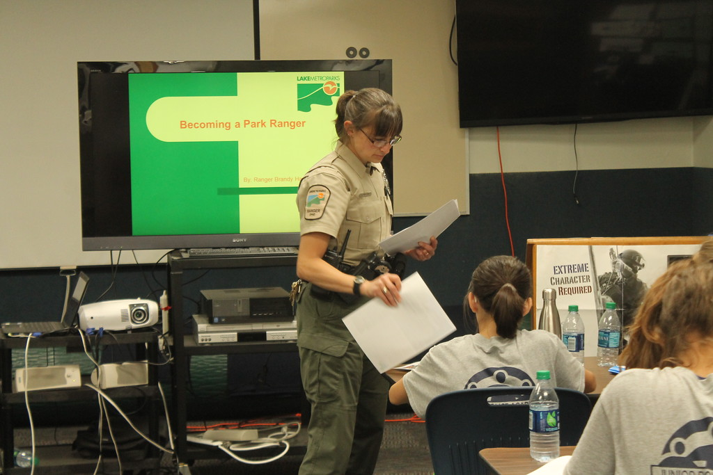 . Brandy Hanusosky, Lake Metroparks Rangers speaks to  cadets in Euclid\'s  Police Department\'s Jr. Police Academy about Park Rangers being an option for those interested in law enforcement and how to become one. Kristi Garabrandt - The News Herald