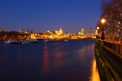 London skyline at night towards Blackfriers Bridge over River Thames and  City of London, London, UK