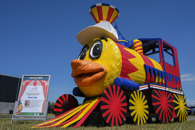 "Eric Bonzar — The Morning Journal <br> The Circus Train, by University of Cincinnati DAAP Program School of Art student Jake Brinkmann, of Cincinnati, is displayed during the 14th annual Avon Heritage Duck Tape Festival, June 16, 2017. ""Circus Spectacular"" is the theme for this year's three-day family event at Veteran's Memorial Park in Avon."