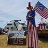 Kaylee Remington - The Morning Journal<br /> Kim Goodwin, 20, of Nashua, New Hampshire, portrays Uncle Sam at the 13th Annual Avon Heritage Duck Tape Festival June 18. Her outfit is made entirely out of Duck Tape. She also practiced walking on stilts for the occassion.