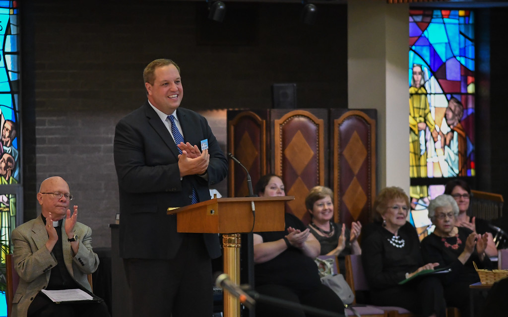 . Eric Bonzar � The Morning Journal <br> Lorain International Association President Ben Davey welcomes attendees of the 41st annual Heritage of Sacred Music Concert, June 20, 2017. The concert, held at St. Peter Parish, 3655 Oberlin Ave, Lorain, was presented by the Lorain International Association. Davey was accompanied by First Lutheran Church Rev. Jimmy Madsen, left, who served as Master of Ceremony.