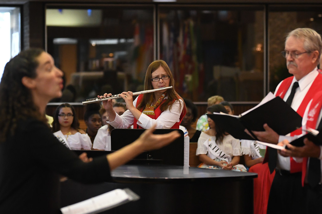 . Eric Bonzar � The Morning Journal <br> Flutist Margo Mordarski performs with the Nativity of the Blessed Virgin Mary choir during the 41st annual Heritage of Sacred Music Concert, June 20, 2017. The concert, held at St. Peter Parish, 3655 Oberlin Ave, Lorain, was presented by the Lorain International Association.