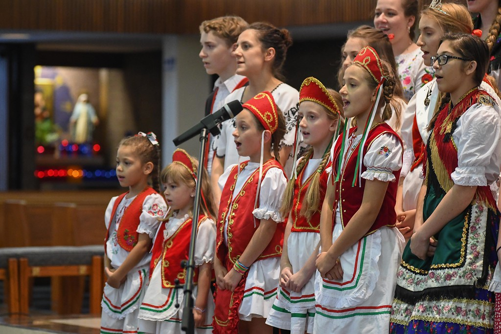 . Eric Bonzar � The Morning Journal <br> Members of the Lorain Hungarian Folklore Group perform during the 41st annual Heritage of Sacred Music Concert, June 20, 2017. The concert, held at St. Peter Parish, 3655 Oberlin Ave, Lorain, was presented by the Lorain International Association.