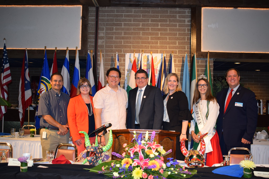 . Briana Contreras - The Morning Journal <br> City officials and those affiliated with Lorain International Association stand proudly for a group photo during the Annual International Festival Breakfast on June 20 at German\'s Villa in Vermilion.