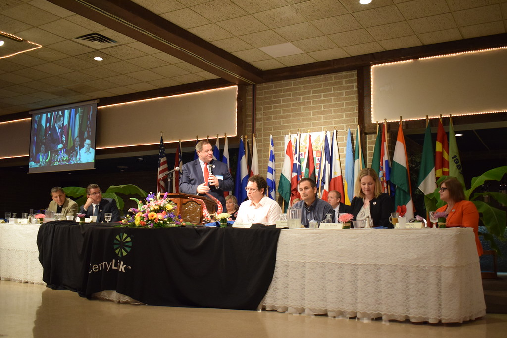 . Briana Contreras - The Morning Journal <br>  Benjamin Davey, president of LIA (not sure what that is) and Master Ceremonies, introduces the Puerto Rican community of Lorain as this year\'s International Festival spotlight. Davey and community officials shared words at the Annual International Festival Breakfast on June 20 at German\'s Villa in Vermilion.