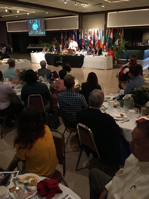 . Richard Payerchin - The Morning Journal <br> State Rep. Dan Ramos speaks at the Lorain International Festival breakfast.