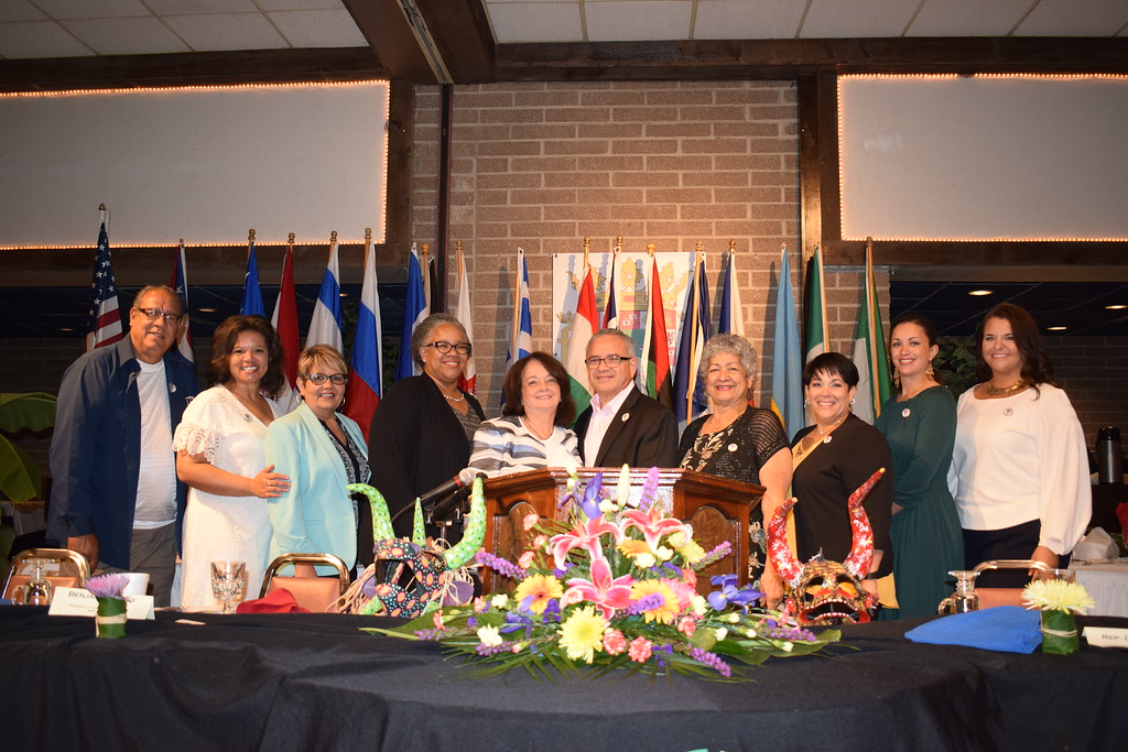 . Briana Contreras - The Morning Journal <br>  Members of the Puerto Rican Spotlight Committee stand proudly for a group photo during the Annual International Festival Breakfast on June 20 at German\'s Villa in Vermilion. Puerto Rico was the 2018 Spotlight Nationality for the Lorain International Association.