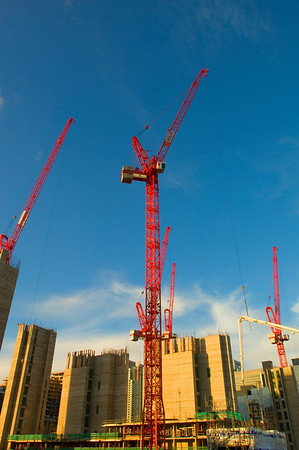 Construction of new office building in Crossharbour, Docklands, London, UK