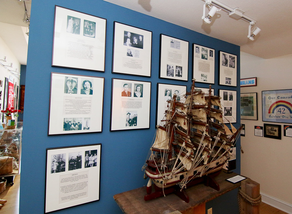 . Jonathan Tressler � The News-Herald <br> One of the many walls inside the Finnish Heritage Museum featuring individual families\' histories.