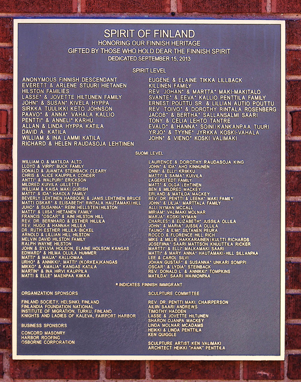 . Jonathan Tressler � The News-Herald <br> A view of the plaque outside the Finnish Heritage Museum in Fairport Harbor.