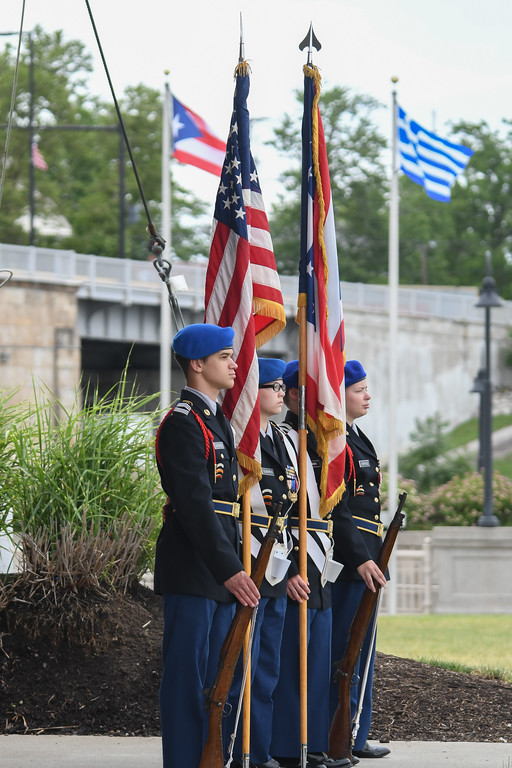 . Eric Bonzar � The Morning Journal <br> Lorain High JROTC Color Guard presents the flags during the 51st annual Lorain International Festival, June 23, 2017.