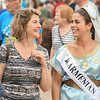 Eric Bonzar — The Morning Journal <br> Armenian Princess Natalie Butchko strolls the grounds of the 51st annual Lorain International Festival, with her mother Tracy Butchko, June 23, 2017. Natalie is pictured in the dress her mother wore when she served as the 1987 Lorain International Queen, the Butchko's said.