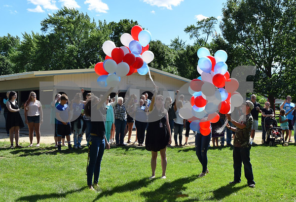 Red, white and blue balloons were released by Les Bellah's grandchildren during his celebration of life Saturday at Franklin Township Park in Kirkland. Bellah, who served as Kirkland village president from 1997-2005 and 2008-2017, died on June 4.