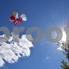 Katrina J.E. Milton - kmilton@shawmedia.com<br /> Red, white and blue balloons float into the sky after being released at Les Bellah's celebration of life Saturday at Franklin Township Park in Kirkland. Sixty-eight balloons, one for each year of his life, were released by his grandchildren. Bellah served as the Kirkland Village President from 1997-2005 and from 2008-2017.