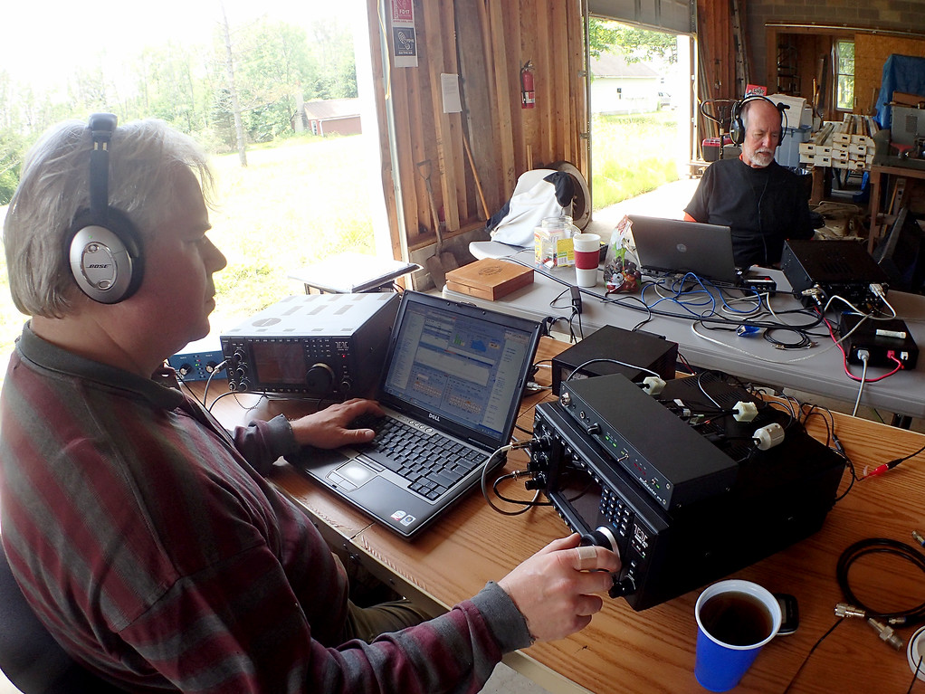. Jonathan Tressler - The News-Herald. Jim Galm, left, and Jim Stahl participate in the American Radio Relay League�s 2018 Field Day Exercise June 24 at Galm�s Huntsburg Township property during the last hour of the 24-hour event.
