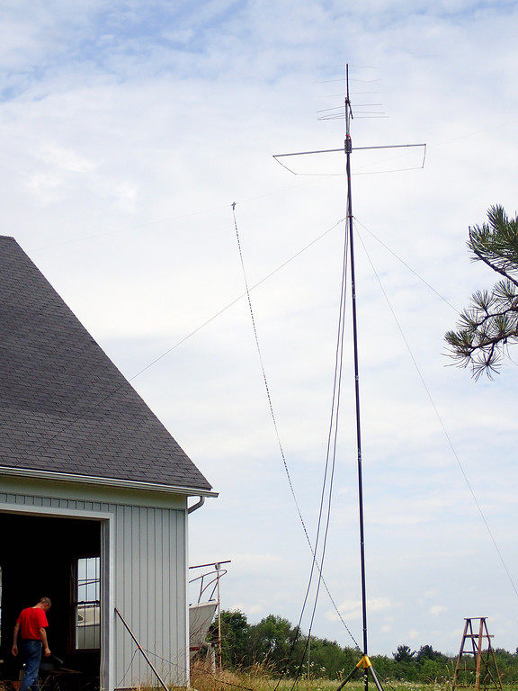 . Jonathan Tressler - The News-Herald. Part of the elaborate antenna setup employed by amateur radio operators Jim Galm, Gary Mikitin and Jim Stahl at Galm�s Huntsburg Township property stands tall above the barn in which the trio operated their ham radio during the American Radio Relay League�s 24-hour 2018 Field Day Exercise June 23-24, during which time participants in Canada and the U.S. competed to see who could communicate with the most other ham-radio operators.