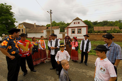 Europe, Romania, Transylvania, Gypsy wedding,  wedding party at groom's home before leaving to bride's village