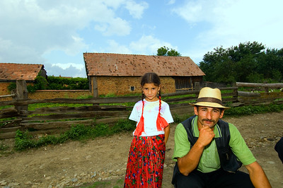 Europe, Romania, Transylvania, Gypsy wedding,  Roma father and doughter at wedding party at bride's home
