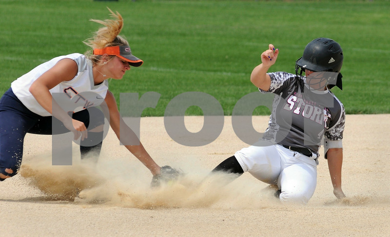 Kishwaukee Valley Storm player Cassie Bade slides safely into second base during Storm Dayz tournament action on Sunday in Sycamore.  Steve Bittinger - For Shaw Media