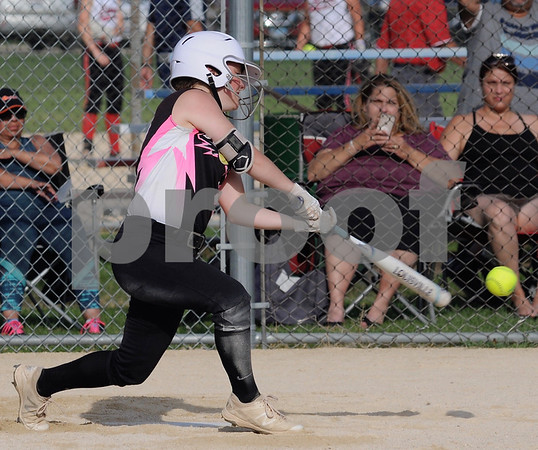 Kishwaukee Valley Storm 18U player Amanda Swedberg makes contact in a tournament game on Friday in Sycamore.  Steve Bittinger - For Shaw Media