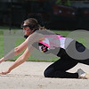 Kishwaukee Valley Storm 18U player Natalie Kraemer dives for a ground ball in a tournament game on Friday in Sycamore.  Steve Bittinger - For Shaw Media
