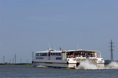 Europe, Romania, The Danube Delta, Bratul Sulina, boat conecting Tulcea and Sulina