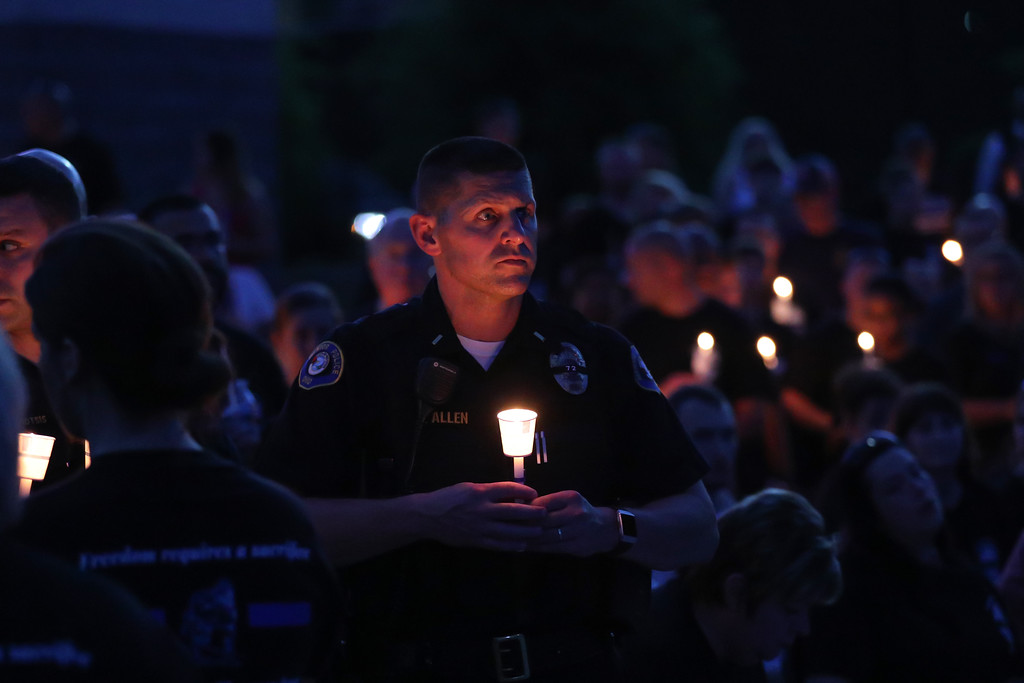 . Tim Phillis �The News-Herald <br> A public candlelight vigil to honor fallen Mentor Police officer Mathew Mazany was held June 29 at the Mentor Civic Amphitheater. The vigil celebrated Mazany�s life as well as commemorated the sacrifice he made for his community. The vigil was organized by the Wives of the Mentor Police Department.  Mazany, 41, was fatally struck by a car at about 1 a.m. June 24 on Route 2, just east of Route 306. He was the city�s first officer to die in the line of duty since 1927. The 14-year veteran of the force leaves behind a son, a brother, father and former wife Lisa Mazany, with whom he remained close, officials said. Visitation for Mazany will be from 2 to 8 p.m. July 1 at Monreal Funeral Home, 35400 Curtis Blvd., Eastlake. A funeral service will be at 11 a.m. July 2 at Mentor Fine Arts Center, 6477 Center St., Mentor.
