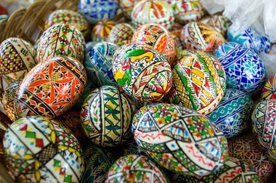 Europe, Romania, Moldavia ,Bucovina, painted Easter eggs are traditional for the region, Humorului Monastery