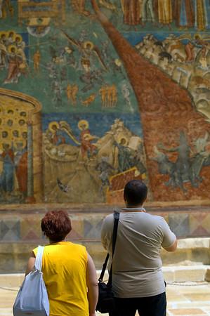 Europe, Romania, Moldavia ,Bucovina, frescoes of Last Judgement on western wall of Voronet Monastery