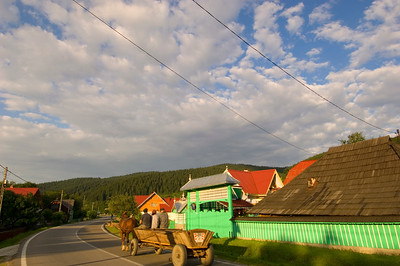Europe, Romania, Moldavia ,Bucovina, Sucevita village, brightly painted houses are typical for the region