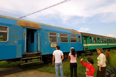 Europe, Romania, Maramures, train stopping at Bocicoel