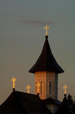 Europe, Romania, Transylvania, The Apuseni Mountains, monastery at sunset