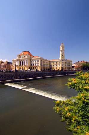 Europe, Romania, The Banat, Oradea , City Hall and River Crisul Repede
