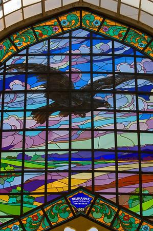 Europe, Romania, The Banat, Oradea , Pasajul Vulturul Negru, stained glass original