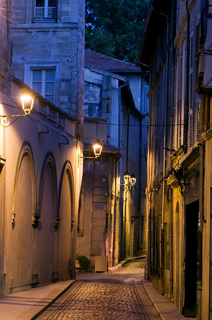 Europe, France, Provence, Avignon, street in Old Town by night