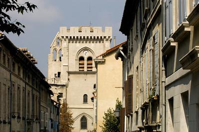 Europe, France, Provence, Villeneuve-Les-Avignon,  Rue de la Hopital and Notre Dam