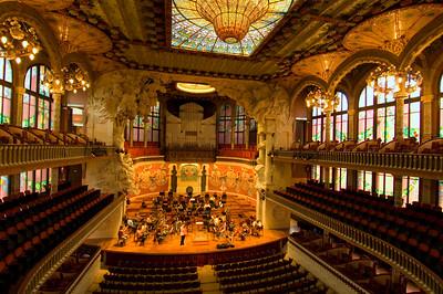 Main auditorium, Palau de la Musica Catalana, Sant Pere district, Barcelona, Catalonia, Spain