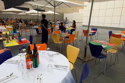 Restaurant on Placa de los Angels, El Raval, Barcelona, Catalonia, Spain