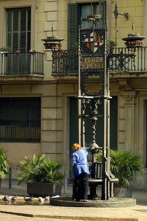 Modernista drinking fountain on Placa Sant Pere, Barcelona, Catalonia, Spain