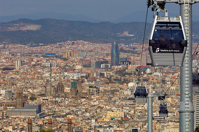 Town panorama and Teleferic de Montjuic seen from Montjuic Castle, Barcelona, Catalonia, Spain