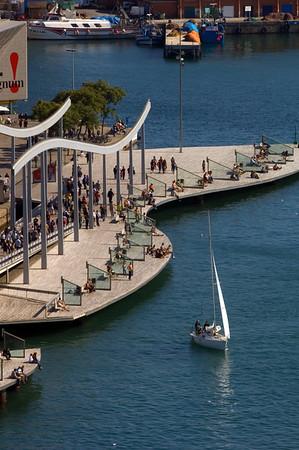 Rambla de Mar in Port Vell, Barcelona, Catalonia, Spain