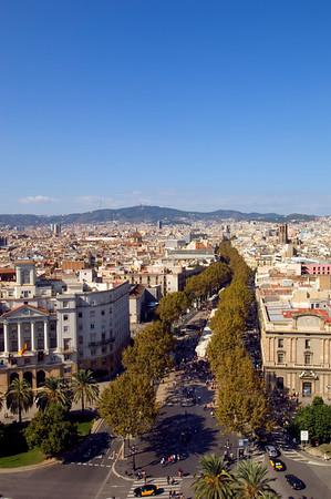 View of town and Las Ramblas, Barcelona, Catalonia, Spain